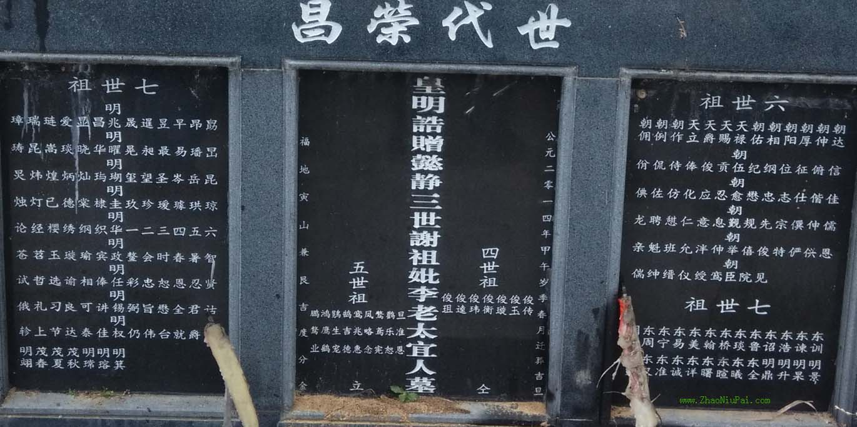 皇明诰赠懿静三世谢祖妣李老太宜人墓墓碑(上坪三世祖仲辉公二配)