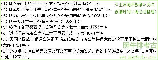 《上坪谢氏族谱》的历次修谱时间(由谢必达宗亲整理)