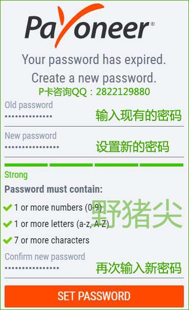 Payoneer派安盈后台的登录密码需要定期更换