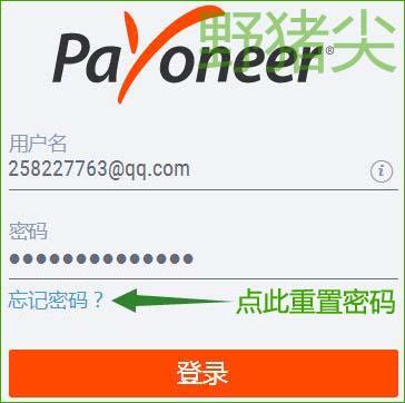 在Payoneer派安盈登录界面重置密码