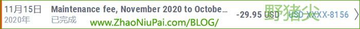 2020年11月第六次扣P卡年费