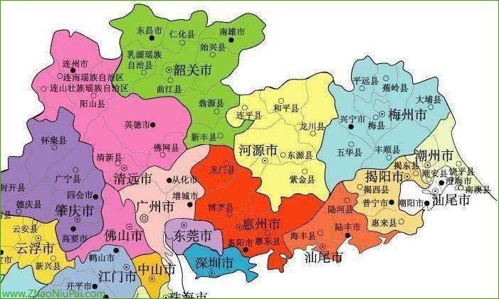 现代广东省地图