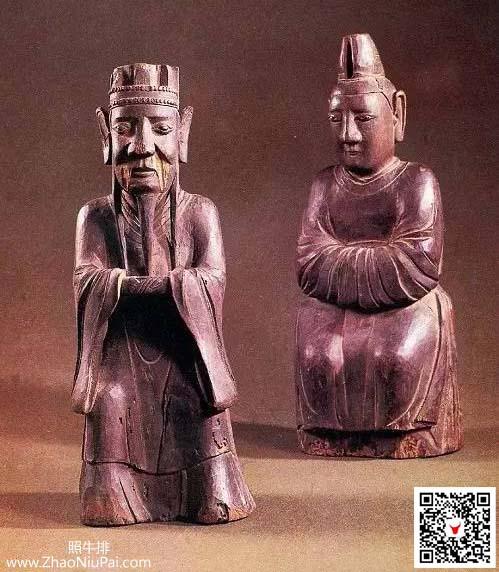 孔子夫妇楷木像,现藏于山东曲阜孔庙