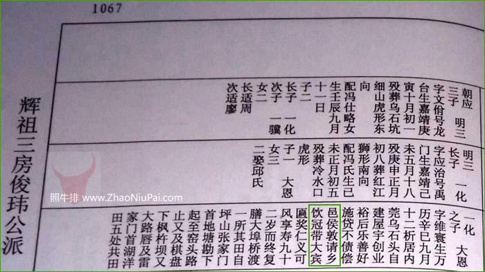 复渊公九世孙谢大恩(字维寰,1581-1673年),因乐善好施,邑侯敦请乡饮冠带大宾