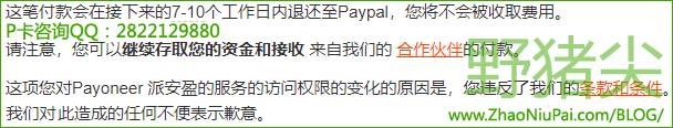 由于违反P卡政策条款,无法继续收款PayPal