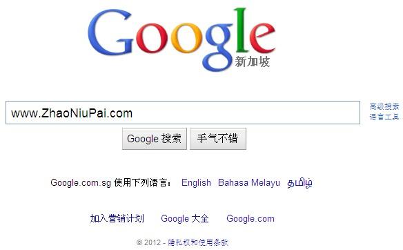 新加坡版的谷歌google.com.sg