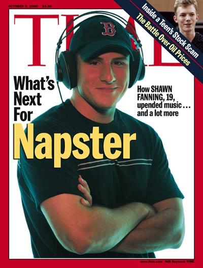 Napster的肖恩·范宁,2000年登上时代杂志封面