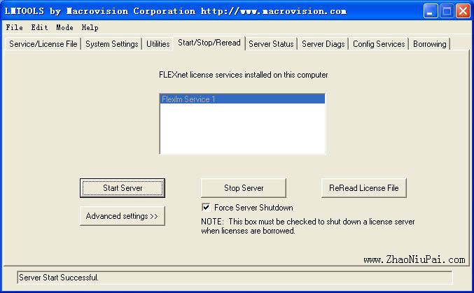 ReRead License File,Stop Server,Start Server