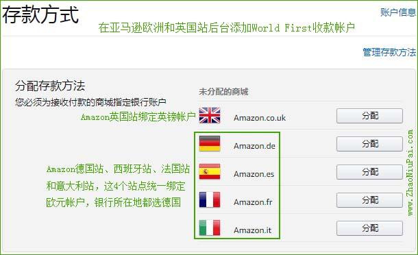 在亚马逊欧洲和英国站后台添加WorldFirst收款帐户
