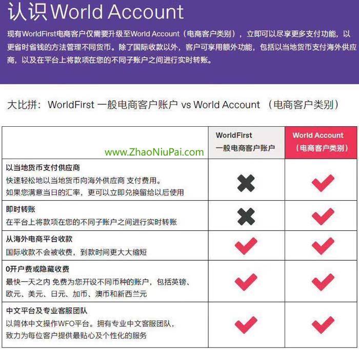 WorldFirst和WorldAccount(电商客户类别)对比